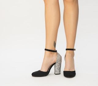 sandale negre cu argintiu cu toc gros ci sclipici