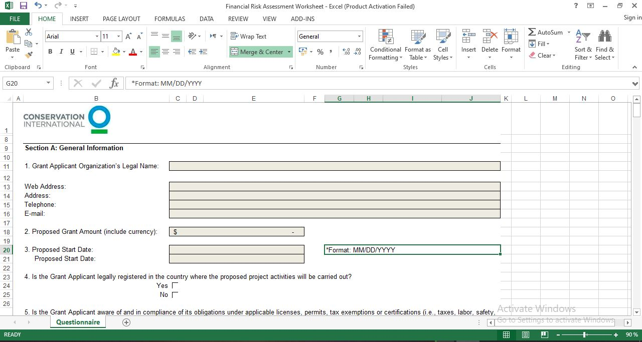 Free financial risk assessment template in Excel