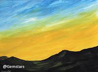 Brilliant Yellow Sunrise on Dark Mountains acrylic 2020
