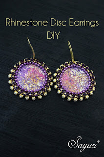 DIY Rhinestone disk earrings