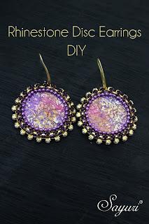 DIY Rhinestone disk earrings