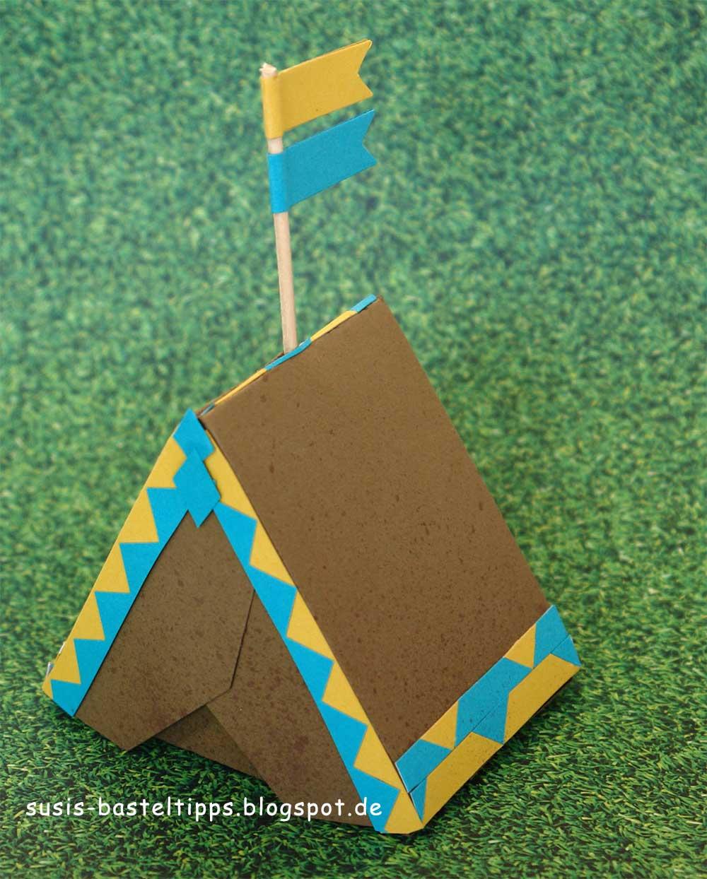 Zelt Aus Karton : Susi s basteltipps ein zelt aus einem briefumschlag
