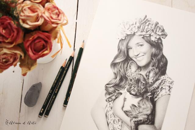 Retrato dibujado de Malena Costa y su perro Roco