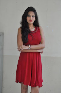 Actress Swetha Jadhav Pictures in Red Dress at London Life Movie Press Meet 0009