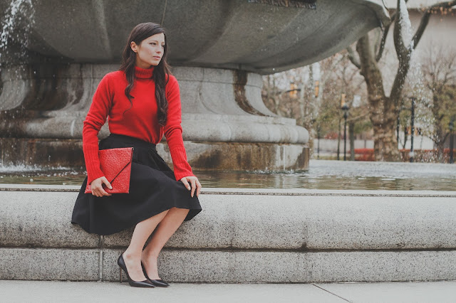 red turtleneck, classy holiday outfit, Kathryn Stabile, Meryl Franzos