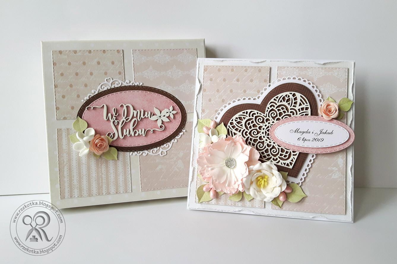 Komplet na ślub - kartka i pudełko