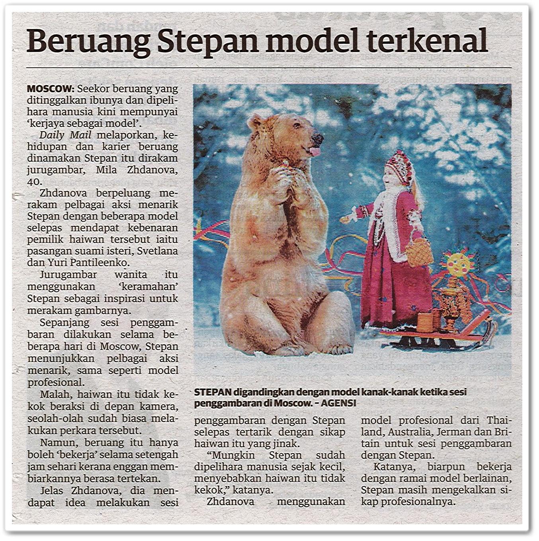 Beruang Stepan model terkenal - Keratan akhbar Utusan Malaysia 10 Oktober 2020