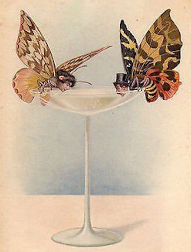 Illustration of two butterflies with human heads drinking out of a champagne glass