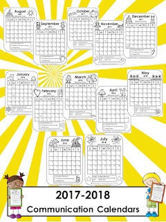 https://www.teacherspayteachers.com/Product/Communication-Calendars-2017-2018-1832010