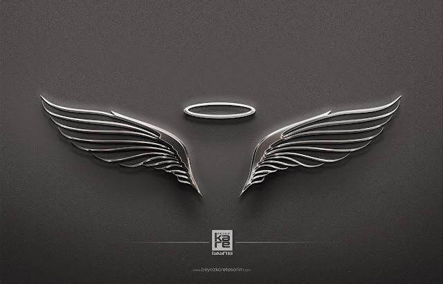 Gümüş Metal Logo Tasarımı Melek Kanadı