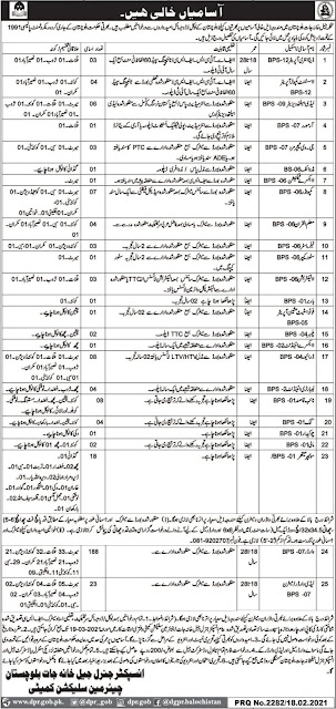 Prison Department Balochistan Jobs 2021 February Warders & Others Latest