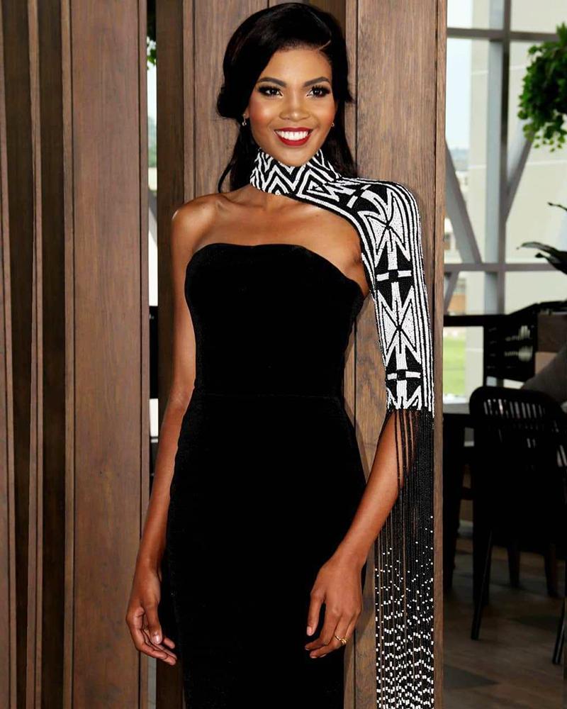 wanita seksi Afrika selatan in black bandage Sexy Dress Thulisa Keyi