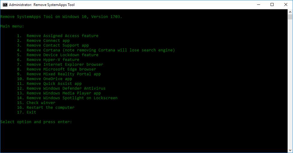 Phát hành công cụ gỡ bỏ ứng dụng hệ thống Remove SystemApps Tool cho Windows 10, Version 1703