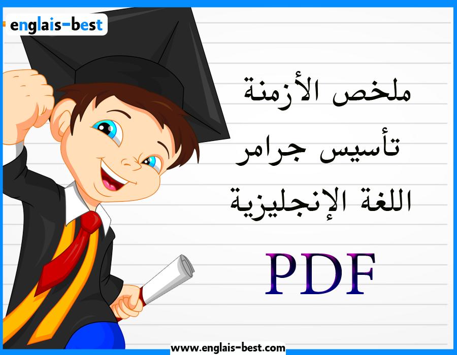 تحميل كتاب ملخص الأزمنة تأسيس جرامر اللغة الإنجليزية من الصفر لكل المراحل في 45 ورقة pdf