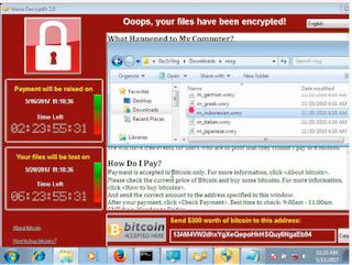 Gambar 2. Tampilan Pesan Virus WannaCry (Sumber : KOMINFO)