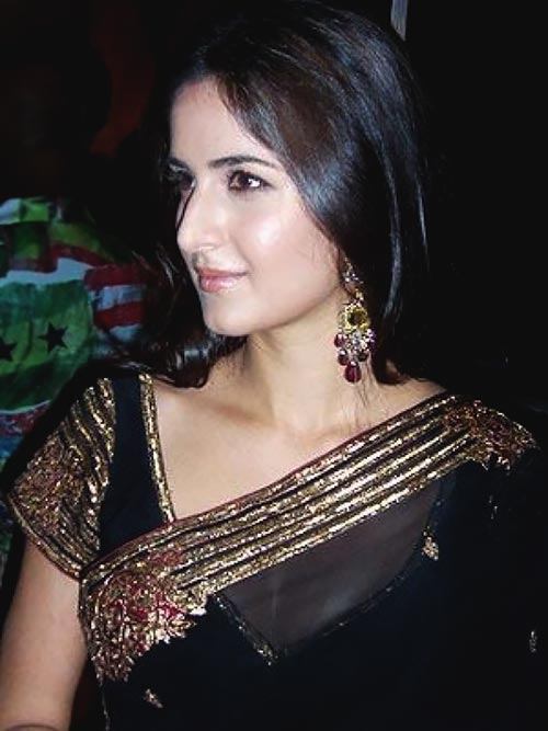 Katrina Kaif cleavage in black saree bollywood actress