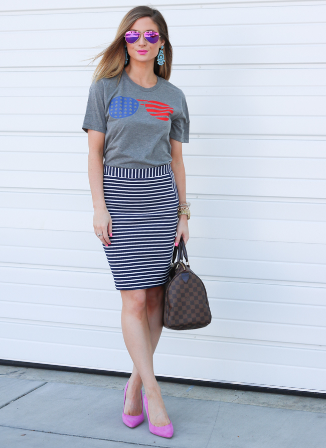 flag glasses tee striped skirt pink pumps