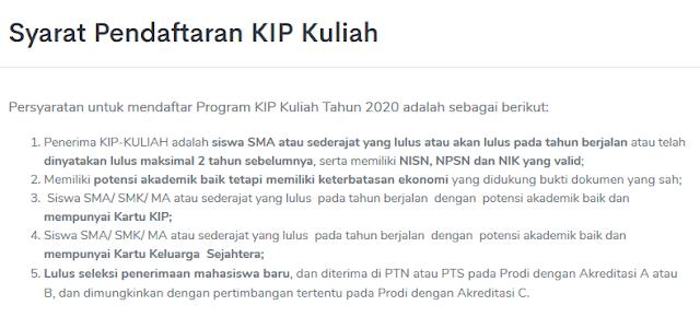 syarat pendaftaran Program KIP-Kuliah Kemdikbud
