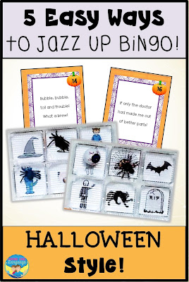 Reuse plastic divided containers to jazz up bingo this Halloween!