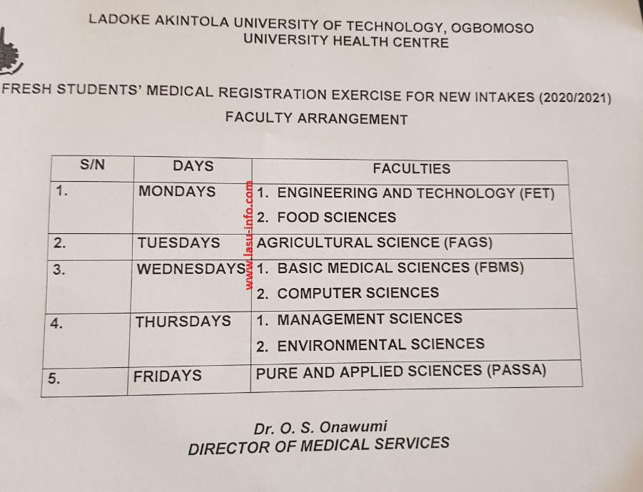 LAUTECH Medical Registration & Clearance Guidelines 2020/2021