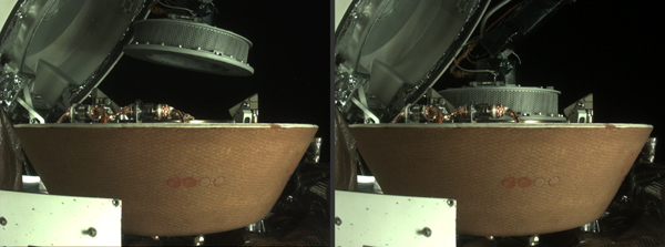 Two images showing the collector head being placed inside the Sample Return Capsule aboard NASA's OSIRIS-REx spacecraft...on October 27, 2020.