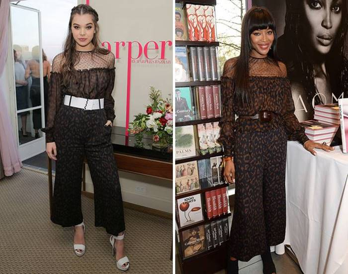 Provocative leopard jumpsuit from Blumarine and liked Haley Stenfild , and Naomi Campbell. The young actress wore it with contrasting white accessories , and the supermodel chose black ankle boots as a complement to the outfit.