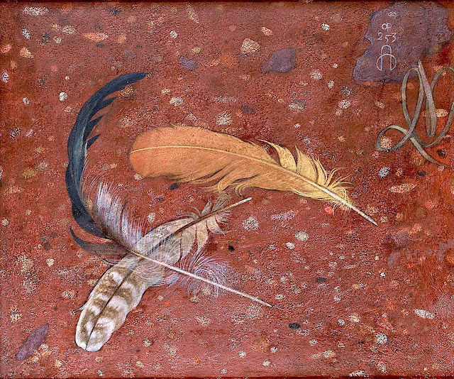 a Maxwell Ashby Armfield painting of bird feathers on stone
