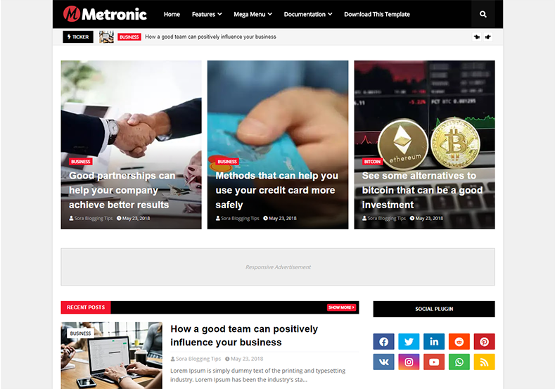 Metronic Blogger Template