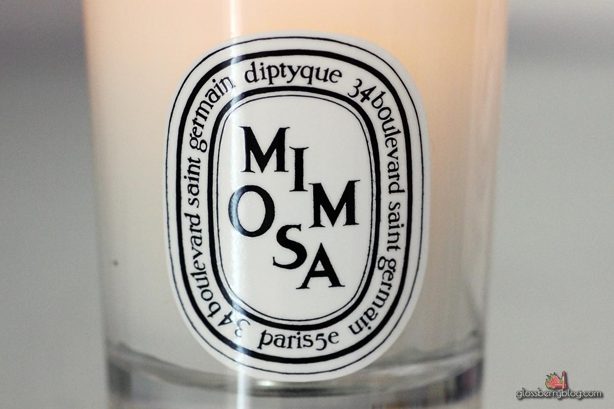diptyque mimosa candle review דיפטיק נר יוקרתי מימוזה סקירה גלוסברי בלוג איפור וטיפוח