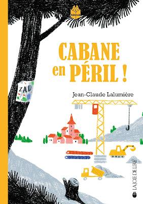 L'illustration représente la couverture du roman Cabane en Péril de Jean-Claude Lalumière, éditions La Joie de Lire sur laquelle on aperçoit un chantier de construction dans un paysage champêtre