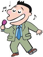 サラリーマンがカラオケで歌っている