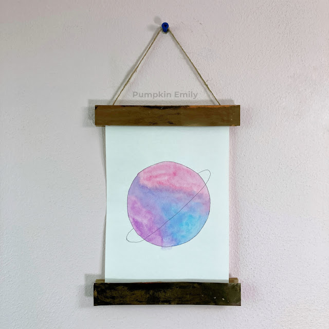 Cardboard magnetic frame and planet art