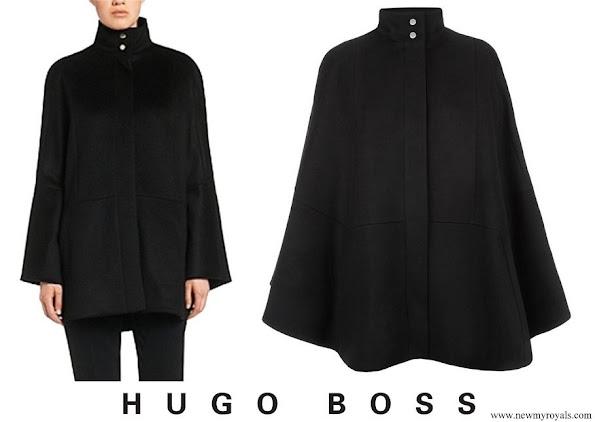 Queen Letizia wore Hugo Boss Black Capina Poncho Cape