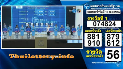 Thailand Lottery Results Today 16 February 2019 Live Online