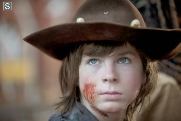 "Carl en el  final de la cuarta temporada de ""The Walking Dead"""