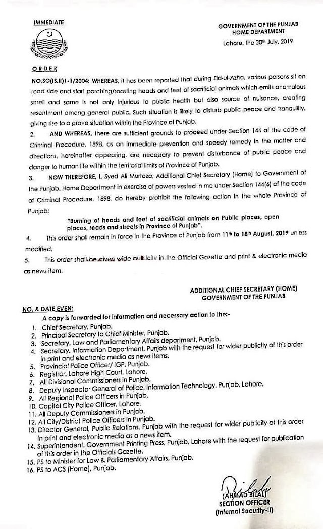 PROHIBITION OF BURNING OF HEADS AND FEET OF SCARIFIED ANIMALS AT PUBLIC PLACES, ROADS AND STREET ETC. DURING EID UL AZHA