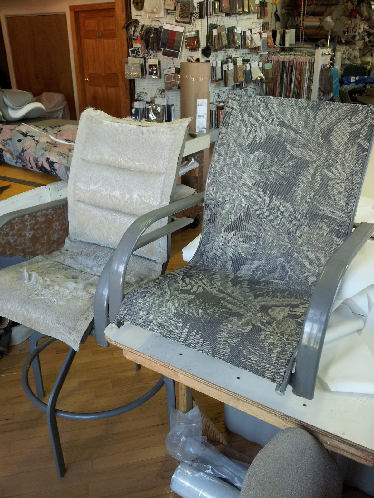 recover sling patio chairs black wood dining chair homestyle custom upholstery and awning before after
