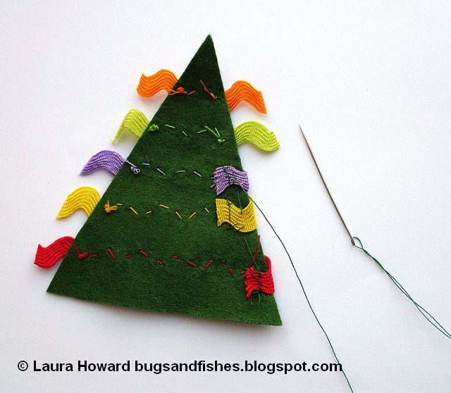 decorating a felt Christmas tree ornament with ricrac or ribbon