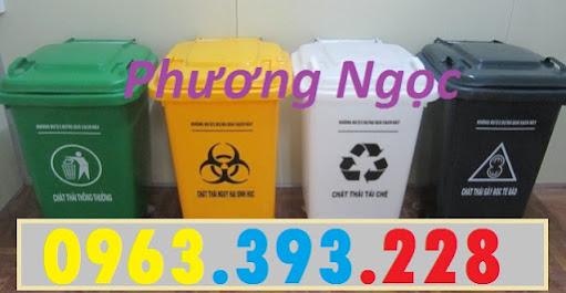 Thùng rác 60L nhựa HDPE, thùng rác 60 Lít nắp kín, thùng rác đạp chân NK60L5