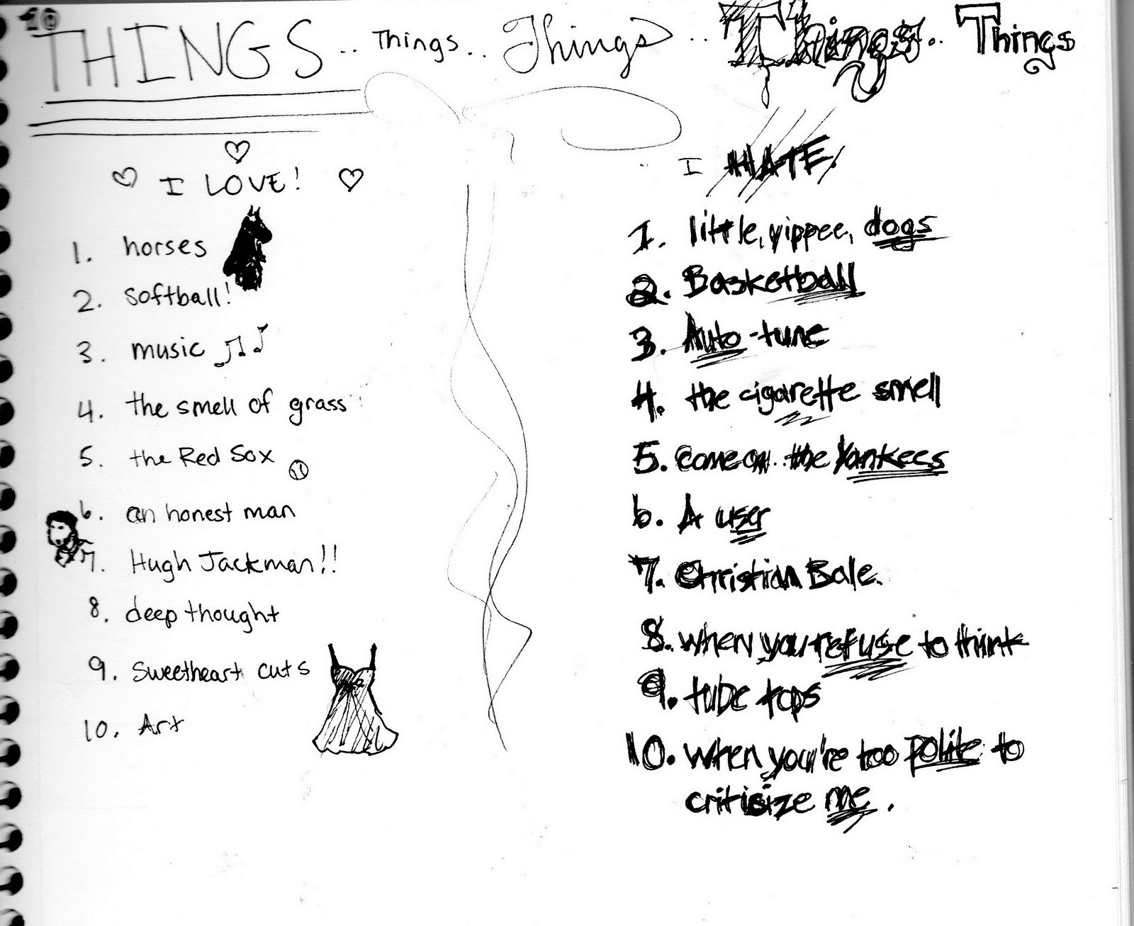 If You Like Stuff Sketchbook 10 Things I Hate And Love