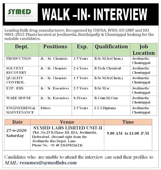 Symed Labs | Walk-in for Multiple departments at Hyderabad on 27 June 2020