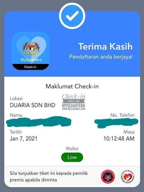 Maklumat Check-in MySejahtera