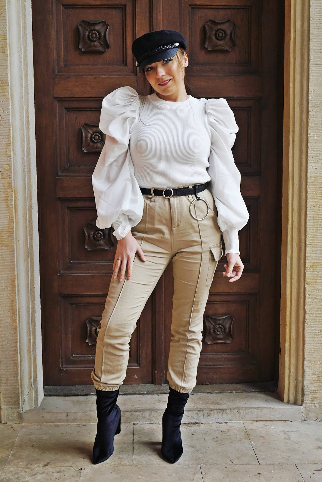 fashion blogger karyn cargo pants white puff slave top femme luxe socks shoes aliexpress belt aliexprss outfit look stylish inspiration