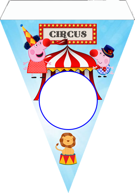 Banderines  de Peppa Pig en el Circo para imprimir gratis.