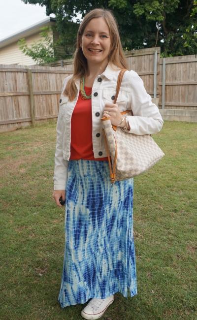 white denim jacket, red tee, blue tie dye maxi skirt and louis vuitton damier azur neverfull tote | awayfromblue