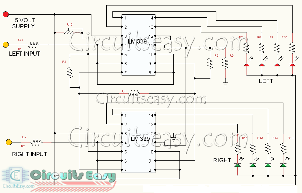 dancing led circuit for stereo amplifier led music level indicator rh circuitseasy com