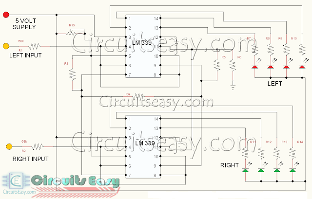 DANCING LED CIRCUIT FOR STEREO AMPLIFIER - LED MUSIC LEVEL INDICATOR FOR STEREO APPLICATION