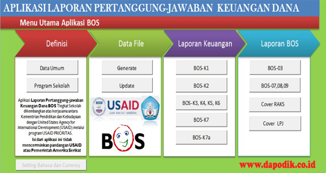 Aplikasi Laporan Pertanggung Jawaban (LPJ) Dana BOS (EXCEL) - Aplikasi Alpeka BOS Jenjang SD, SMP, SMA, SMK
