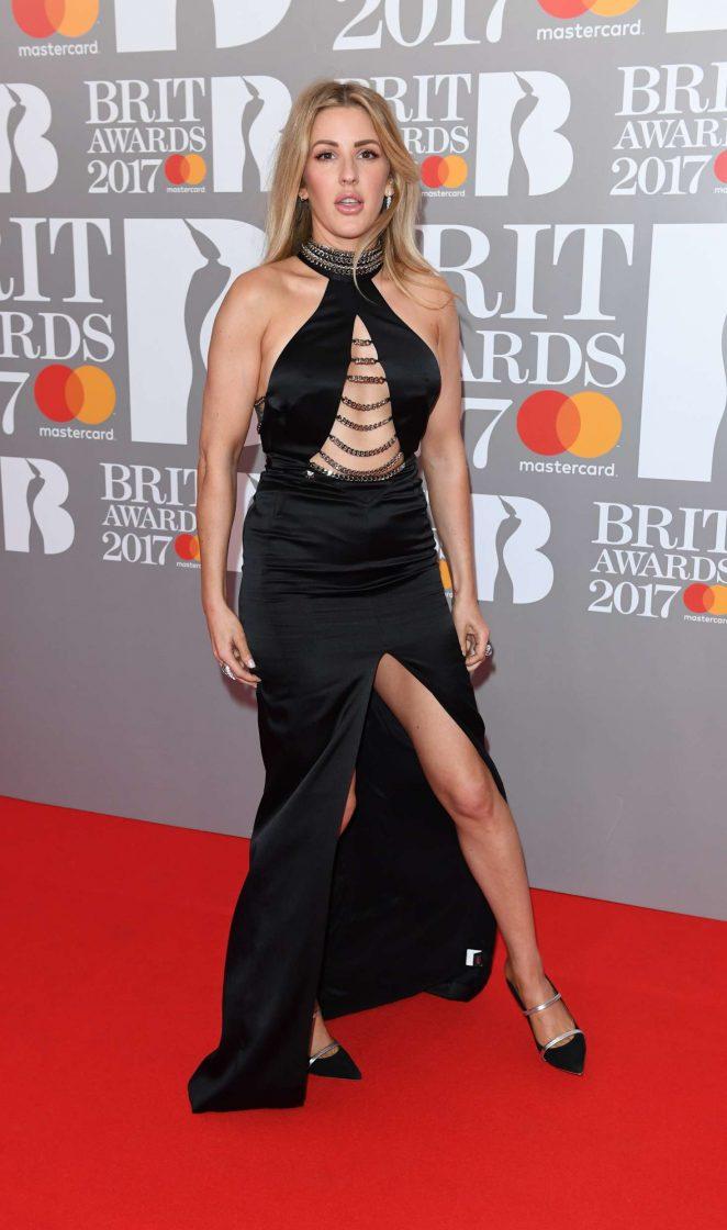 Singer Ellie Goulding At Brit Awards 2017 In Black Dress Hollywood