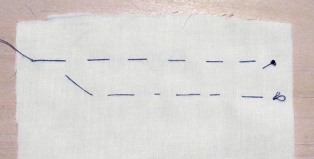 Punto hilván con hilo azul sobre tela blanca